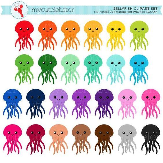 Rainbow Jellyfish Clipart Set Cute Jellyfish Clip Art Etsy Rainbow Clipart Clip Art Jellyfish