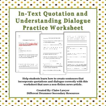 In-text Quotation and Dialogue Worksheet | Punctuation, Pay ...