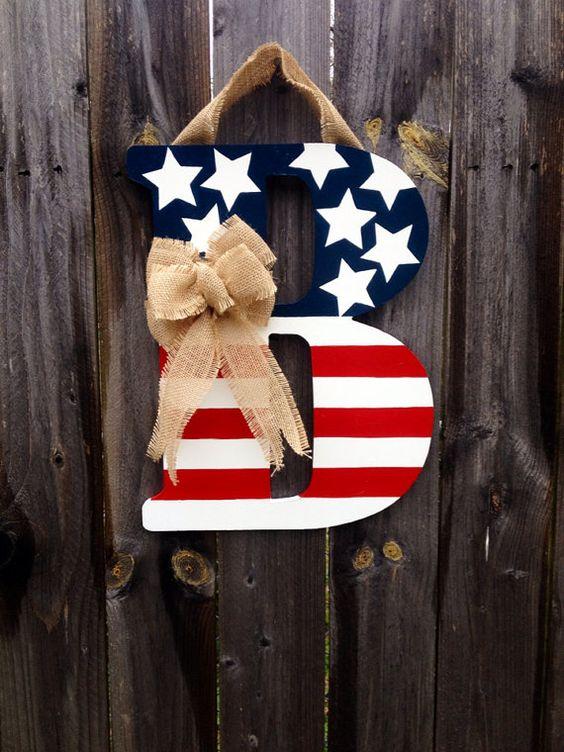 Patriotic Monogram Door Hanger with Burlap Bow- Red, White, & Blue