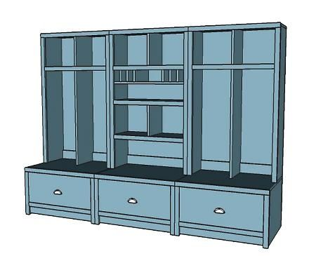 Plans for a mudroom locker system.  You know, if I could DIY.  Come on, someone, do it yourself, for myself!