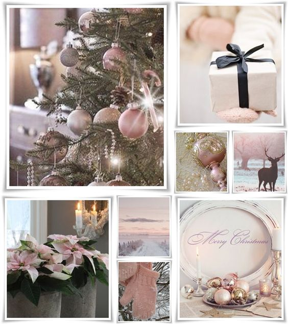 made by Audrey T Pretty pink Christmas collage: