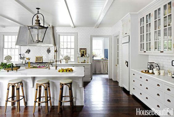 Beautiful White Kitchen with Lantern