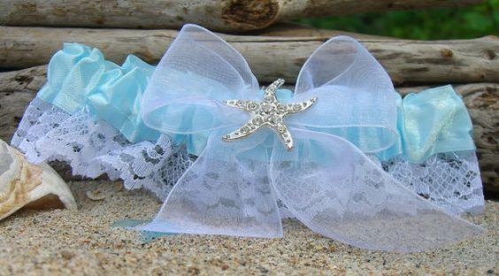 Beach Wedding Bridal Garter-Tiffany Aqua Blue-Nautical Wedding, Starfish Garter, Destination Weddings, Something Blue, Bridal Accessories