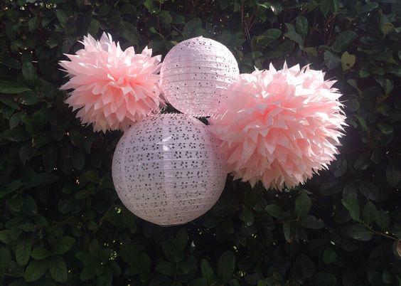 PINK WEDDING / 2 tissue paper pom poms/2 lace paper lanterns / wedding decorations, baby shower, nursery, bridal shower, birthday, tea party by 1PomPomGirl on Etsy https://www.etsy.com/ca/listing/252903610/pink-wedding-2-tissue-paper-pom-poms2