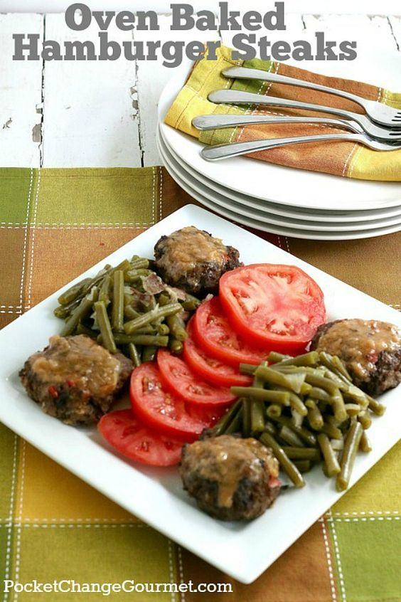 OVEN BAKED HAMBURGER STEAKS -- Change up your traditional hamburgers and give these oven baked hamburgers a try! They are moist, delicious and have a creamy gravy over top!