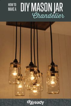 How to Make a DIY Mason Jar Chandelier | Jazz Up Any Space With A DIY Mason Jar Chandelier. It's Chic And Cost-Effective! by DIY ready at http://diyready.com/how-to-make-a-diy-mason-jar-chandelier-2/