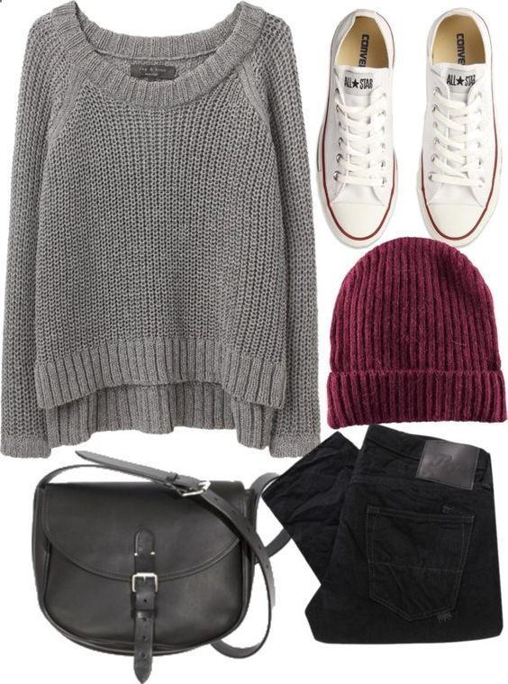 Pull gris en laine + bonnet rouge bordeaux + pantalon noir + sac en cuir noir ou similitude cuir + converse blanche .
