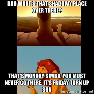 Dad what's that shadowy place over there? That's monday simba. You ...