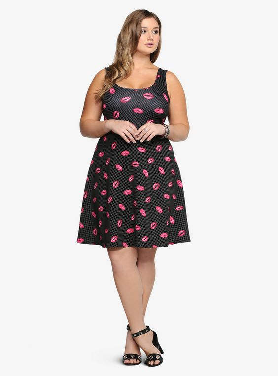 Playful, cheeky, sweet and with tons of 'tude, this dress offers a variety of ways to rock it!  Polka Dot Lips Scuba Dress at Torrid.com,...