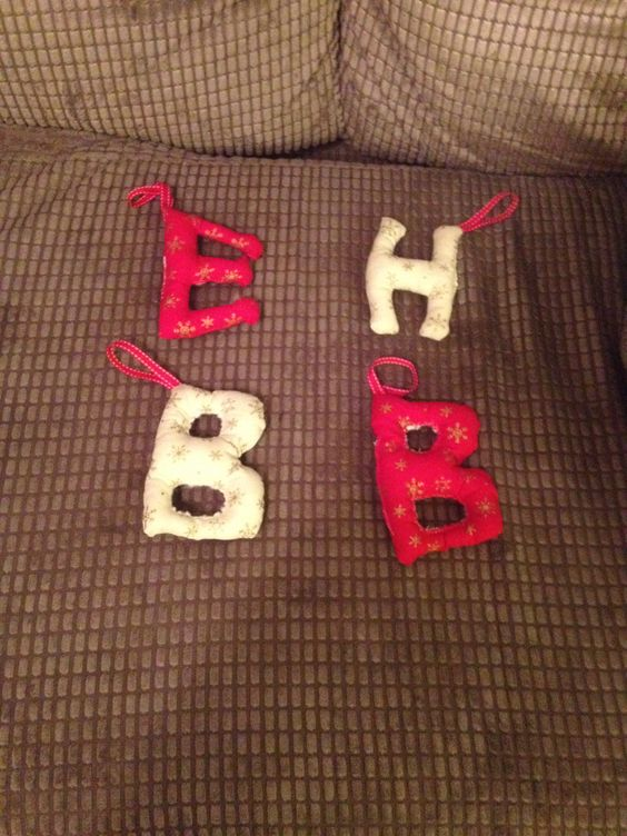 Childrens initials Christmas decorations.