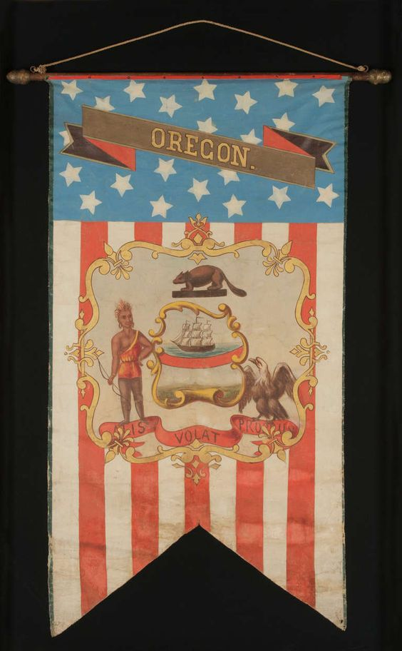 Hand-Painted Patriotic Banner With The Seal of The State of Oregon 2