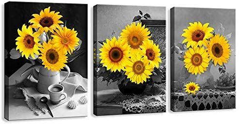 Pictures for Bathroom Sunflower kitchen Decor Flower Pictures on Canvas DVQ ART Contemporary Art for Living Room Stretched Painting Ready to Hang for Home Decorations 12X16inchx3Pcs