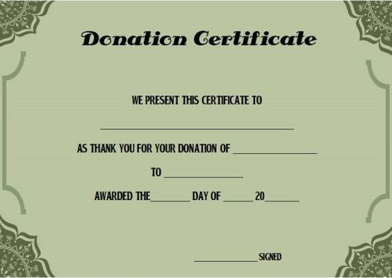 Blood Donation Certificate Template Donation Certificate - certificate of donation template