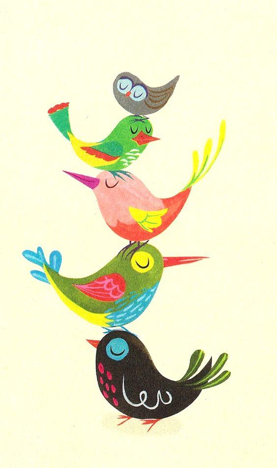 """The Brightest, Chattiest Birds."" Detail from Hallmark card, illustrator unknown.: Birds Illustrator, Art Illustrations, Hallmark Bird, Hallmark Card, Vintage Illustration, Birds Illustration"