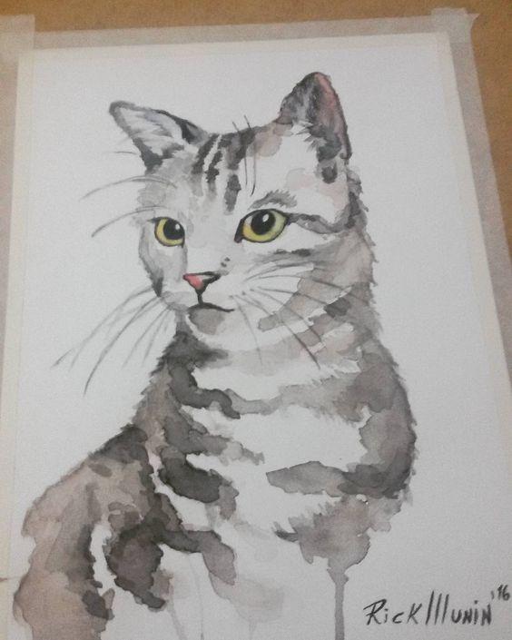 Bichano #watercolor #aquarela #cat  #catwatercolor #yelloweyes #gato #tattoo #watercolortattoo by rick_munin