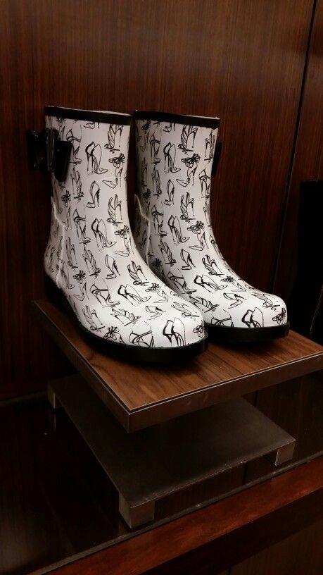 Rainboots have heels on them. Fashion Rainboots. Short rainboots. Belk Store