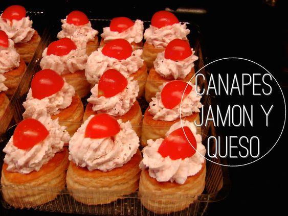 RECETA de como hacer CANAPES CASERO de JAMON con QUESO? SUPER APERITIVO FACIL y Rico. #aperitivo #jamonyqueso #quesocrema #jamonytomatecherry #hojaldre #entradaconjamon