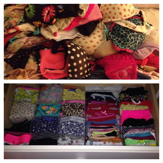 Easy Drawer Storage! : Either buy some drawer dividers from the store (mine are from bed bath and beyond for 10 dollars) or grab some cardboard/ foam board and cut out individual dividers that fit your drawers. Clothes go from being a pile of mess to an organized row to see easily and choose from <3