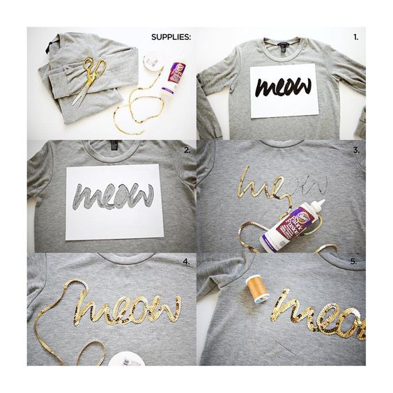 SOURCE: http://www.abeautifulmess.com/2014/03/sequin-phrase-sweatshirt-  Supplies: -sweatshirt -sequin trim -needle and thread -fabric glue -marker  Step One: First, choose a cursive handwritten font and print your phrase the size you want it to appear on your sweatshirt.  Step Two: Use scissors or an X-Acto knife to cut out your letters to make a template for your sequins. Place it where you want your phrase to be and use a marker to trace the middle of your phrase.  Step Three: Place some…