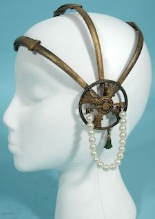 1920's Brasstone Metal Flapper Deco Headpiece with Enamel Drops and Faux Pearls