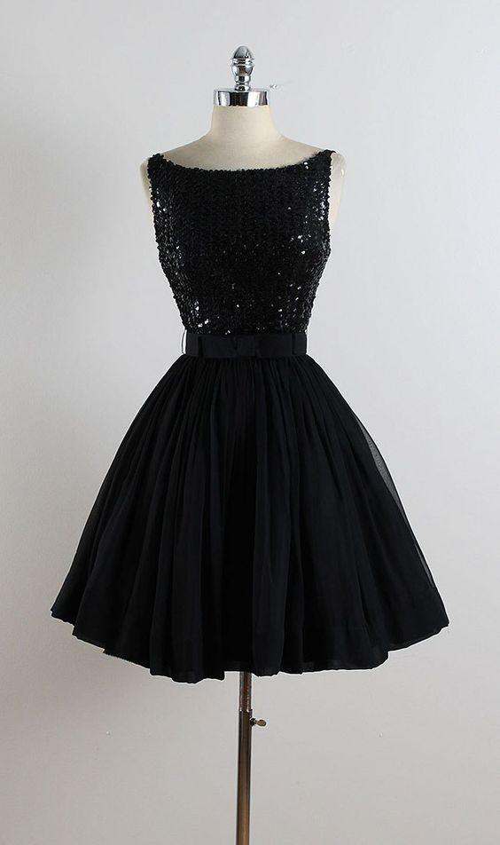 ➳ vintage jaren 1950 jurk  * zwarte pailletten bodice * zwart crêpe chiffon-rok…