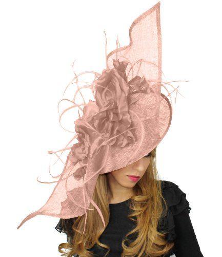 22 Inch Elisaveta Ascot Fascinator Hat With Headband - Baby Pink