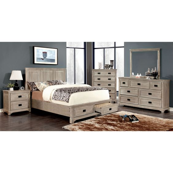 Furniture of America Bodric 4-piece Weathered Bedroom Set by