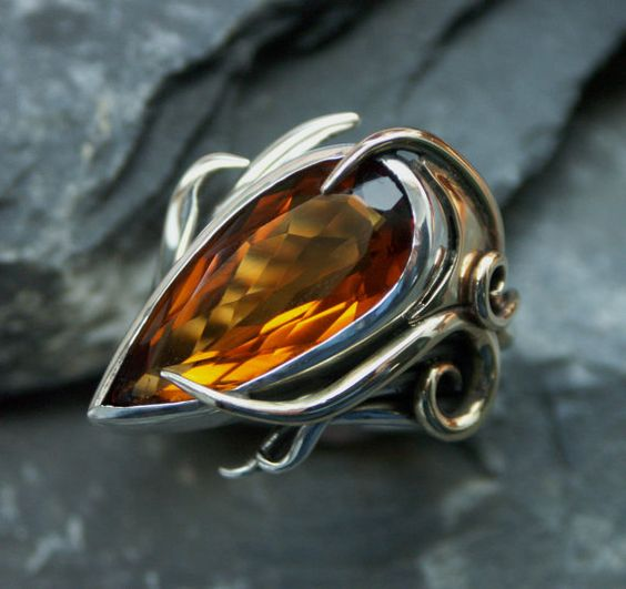 Peacock Ring featuring Citrine by Fran Barker