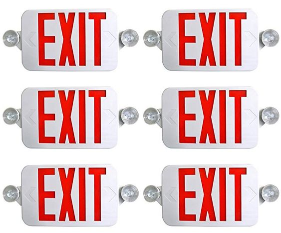 Supreme Led 6 Pack All Led Decorative Red White Exit Sign Emergency Light Combo With Battery Backup 6 Pack Re Emergency Lighting Exit Sign Bright White Led
