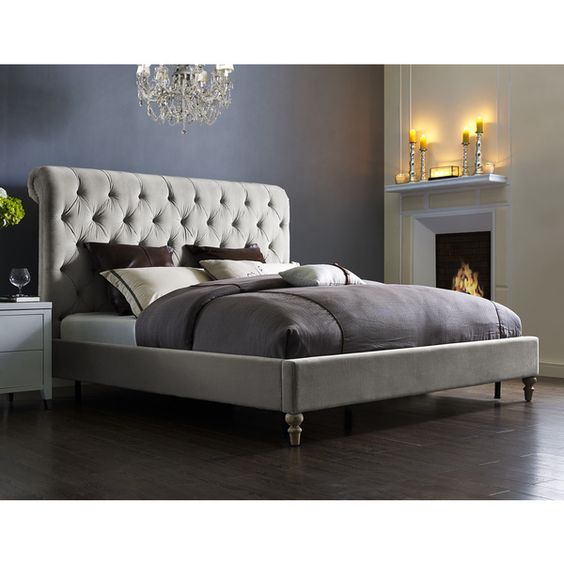 Putnam Grey Velvet Bed Frame and Headboard - 18481681 - Overstock.com Shopping - Great Deals on Beds