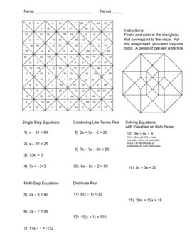 Printables Equations With Variables On Both Sides Worksheet colors equation and the ojays on pinterest solving equations color worksheet problems include single step two combining like terms