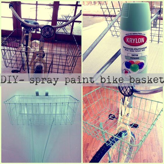 mounton bike bike fun diy bike basket bike baskets spray paint bike. Black Bedroom Furniture Sets. Home Design Ideas