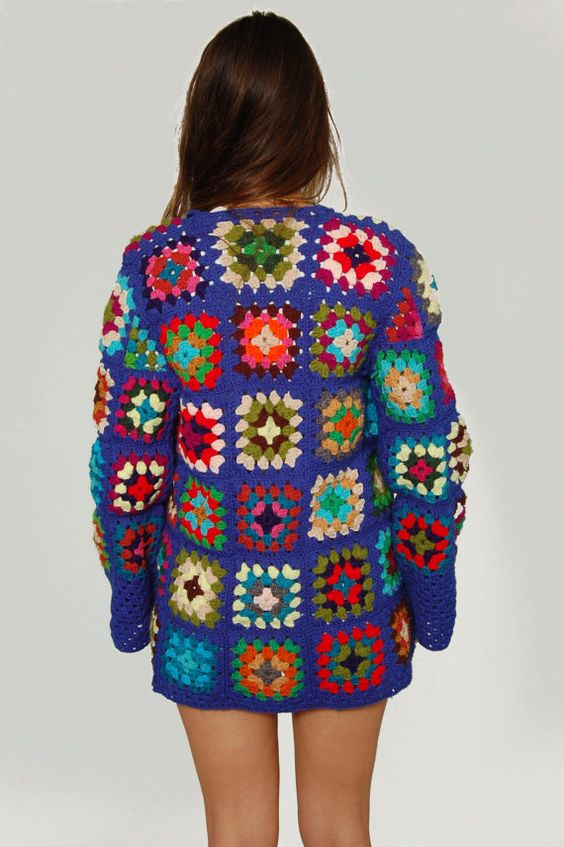 Vintage 1970s GRANNY SQUARE Crochet Sweater by LotusvintageNY:
