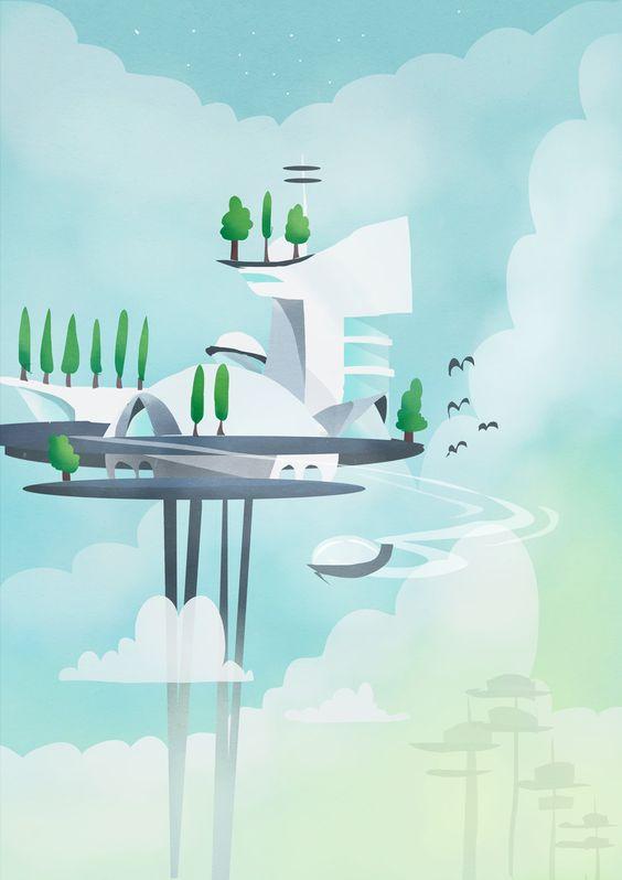 Flying car pit stop, Katja Potokar on ArtStation at https://www.artstation.com/artwork/XPXn0