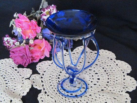 Cobalt Blue to Clear Murano Art Glass Sculpture Michelangelo Italian Candle Holder Centerpiece by EstateFinds4U2, $52.00