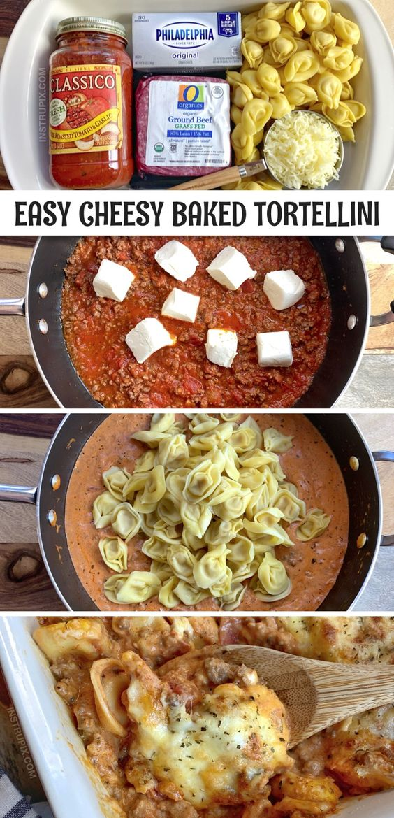 Cheesy Baked Tortellini Casserole With Meat Sauce