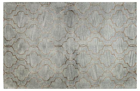 One Kings Lane - Fresh Cuts - Curtain Rug, Silver/Copper