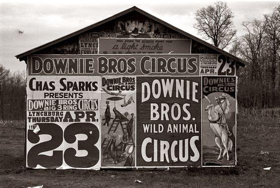 Posters Downie Bros.Circus near Lynchburg,S.Carolina - 1936. Walker Evans