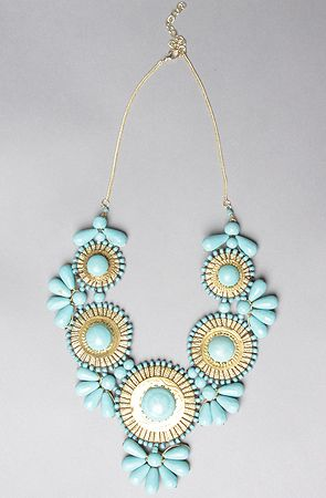 The Medallion Bib Necklace in Turquoise