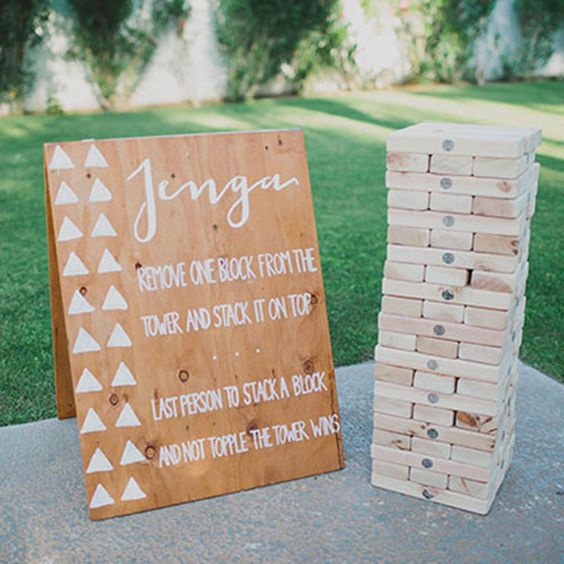 Brides.com: . Play Wedding Games. When guests need a break from dancing, what's more fun than an interactive game? Options like bocce ball, oversized Jenga, and backgammon are fun ways to get your friends and family to interact with each other.