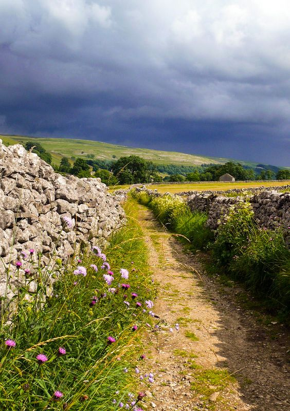 ***Footpath and stormy sky (near Kettlewell, Yorkshire Dales, England) by Gideon Chilton cr.c.