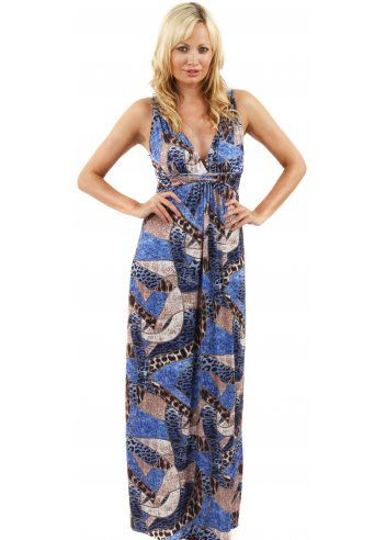 Blue Abstract Printed Maxi Dress