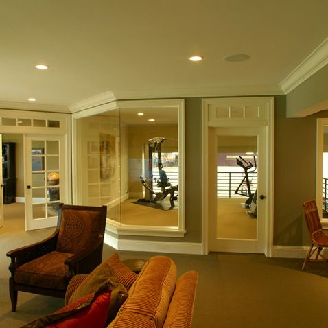 Home Gym Basement Gym Design Like The French Doors And The Funky - Basement home gym design ideas