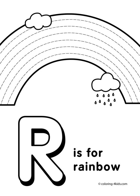 Letter R coloring pages, alphabet coloring pages (R letter words ...