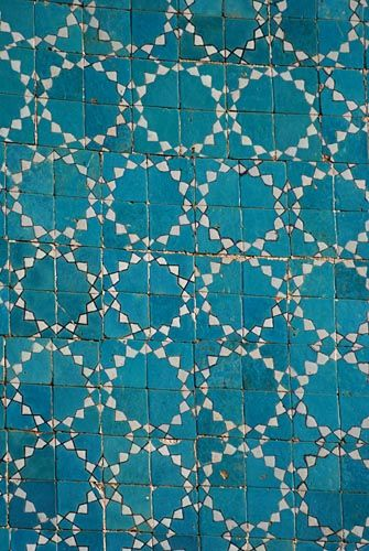 Tiles on the walls of the Blue Mosque of Mazari Sharif, Afghanistan.: