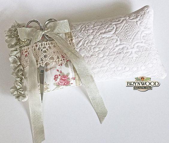 Lovebirds Pincushion. Vintage Lace by BrynwoodNeedleworks on Etsy