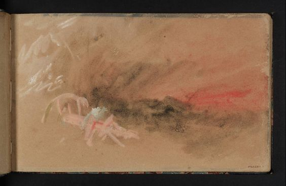 The Fire at Sea Sketchbook c.1834. Sketchbook of 90 leaves and 54 pages of watercolor images. Page 7 - Ship on Fire. Watercolor on paper. Tate Gallery, London, UK.