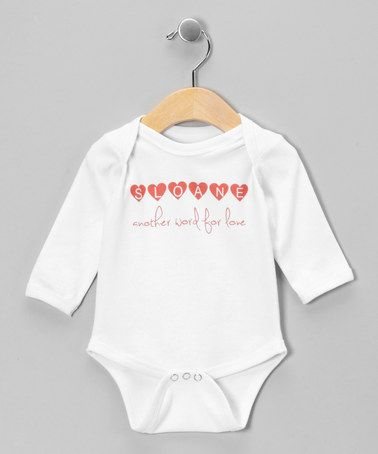 Look at this #zulilyfind! White 'Word for Love' Personalized Long-Sleeve Bodysuit - Infant by Initial Request #zulilyfinds