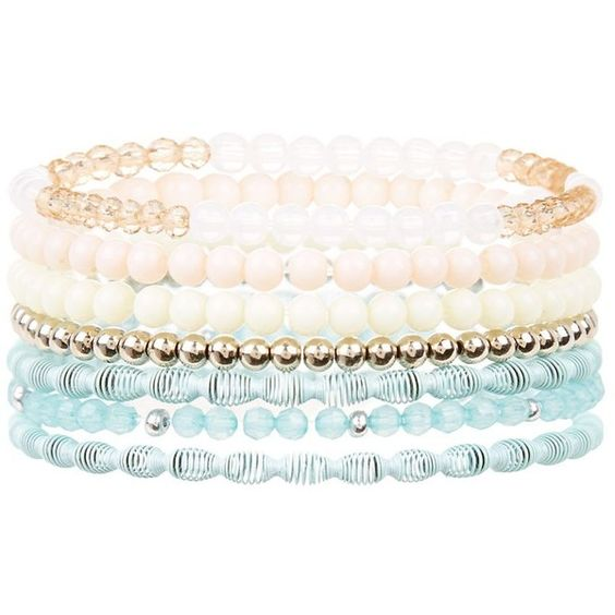 Multicoloured Beaded Stretch Bracelet Pack ($3.03) ❤ liked on Polyvore featuring jewelry, bracelets, stretch bracelet, beading jewelry, bracelet bangle, beaded stretch bracelet et colorful jewelry