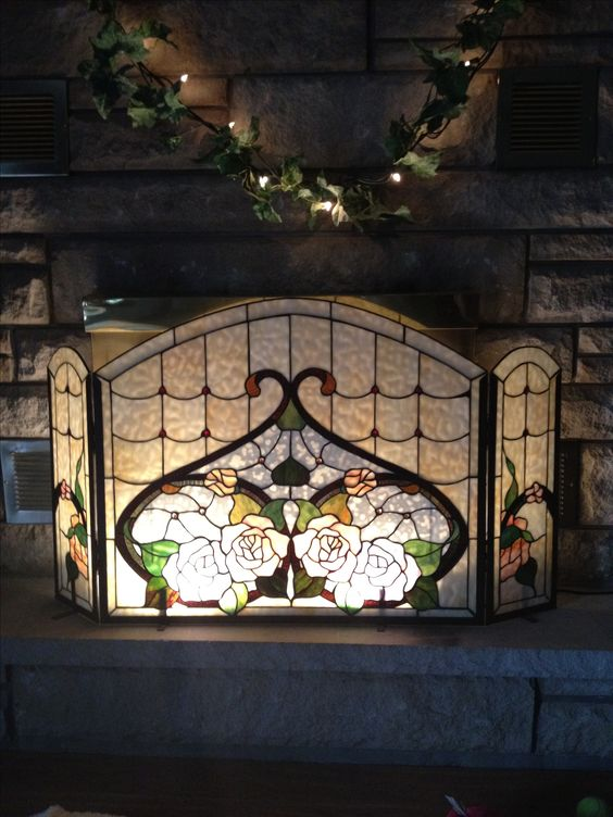 Stained Glass Fireplace Screen Glass Fireplace Screen And Fireplace Screens On Pinterest